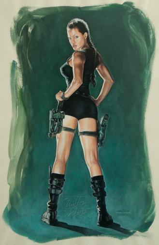 Angelina Jolie as Tomb Raider - Gouache, 42cm x 29,7cm.