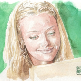 Aquarela Amanda Seyfried - Letters to Juliet