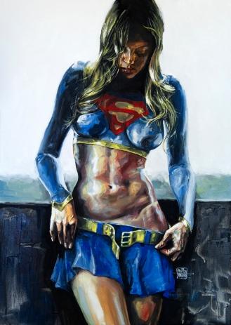 Supergirl - Óleo sobre tela, 50cm x 70cm.