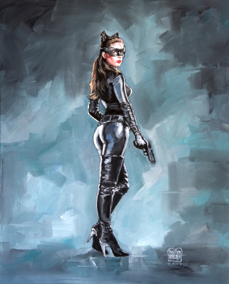 Anne Hathaway as Catwoman, The Dark Knight Rises (2012) - Óleo sobre tela, 50cm x 40cm.
