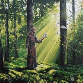 São Francisco de Assis - Espátula, óleo sobre tela, 50cm x 50cm.